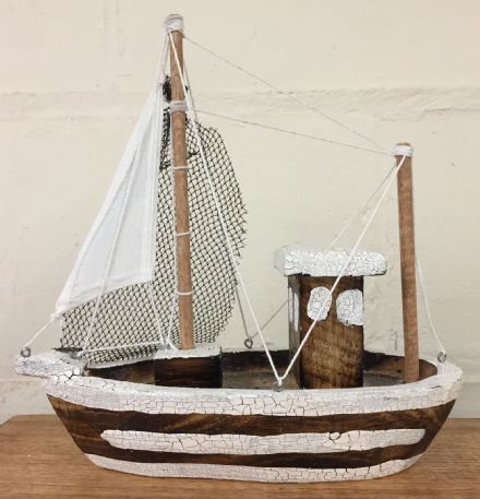 Brown & White Distressed Trawler Fishing Boat Decorative Ornament
